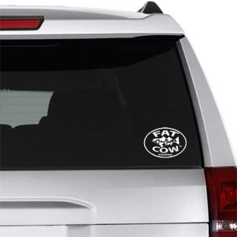 Fat Cow Fishing Decal White