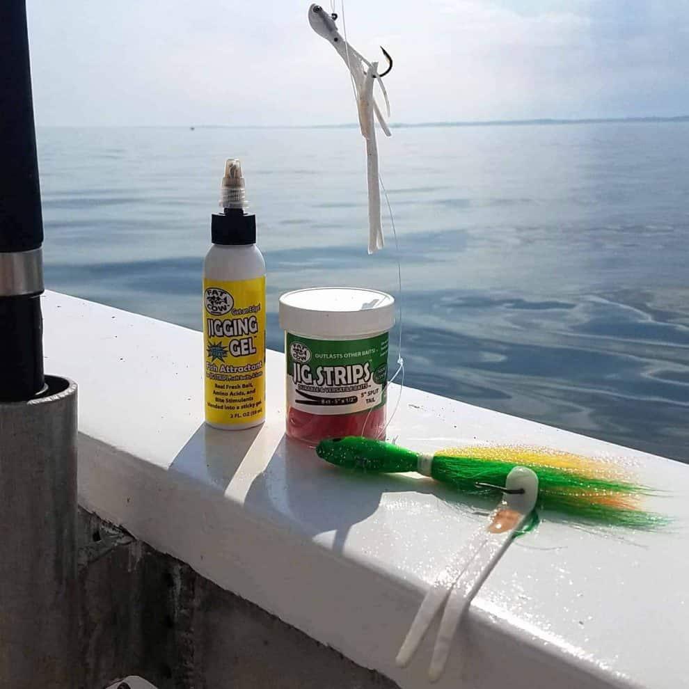 Fat Cow Fishing Jigging Gel works great on spro bucktails and Jig Strips when Fluke fishing
