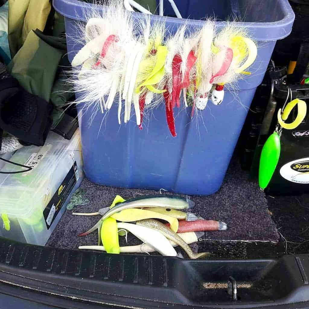 Pork rind, curly tail grubs, and jig strips on bucktails